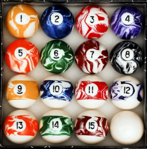 Marble - Swirl Style Pool - Billiard Table Ball Set